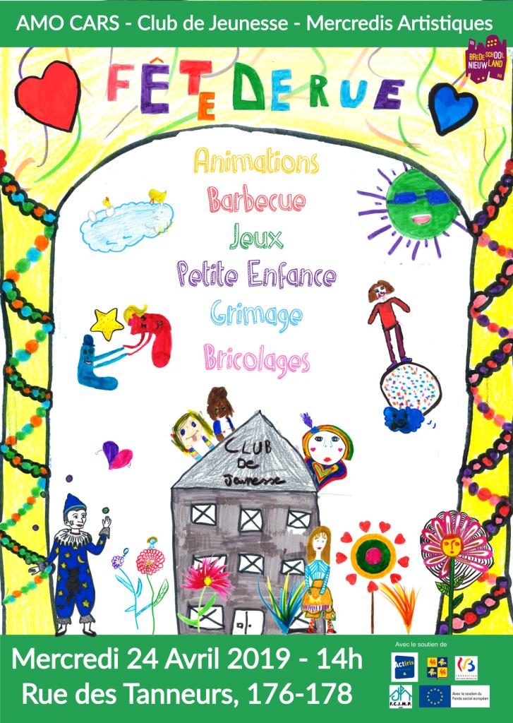 Affiche pour la fête de rue 2019, réalisée par l'atelier d'écriture du Club de Jeunesse